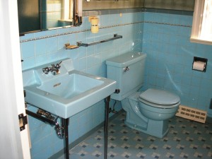 Blue Mid-Century Bath