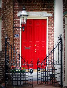 Red Front Door and Gate
