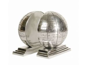 Silver Globe Bookends