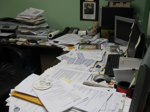 Clutter office organized papers research