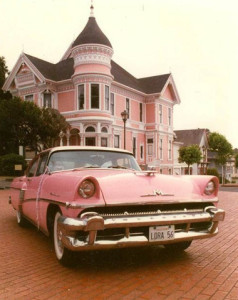 Pink Victorian and 1950's Car