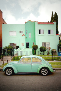 Seafoam Green Bug and Building