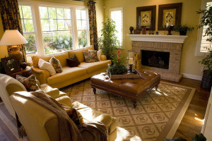 Coffee Table Ottoman in Yellow Parlor