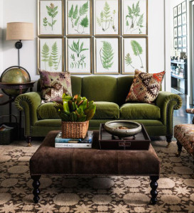 Green Velvet Couch and Brown Ottoman